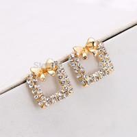 women jewelry Bow earrings Sweet rhinestone earrings fashion stud earring 535