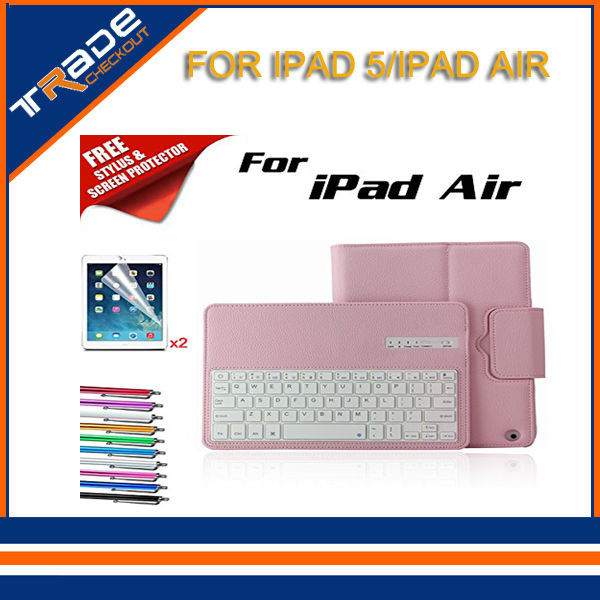 Wireless Bluetooth Keyboard PU Leather Case with Stand For iPad Air keyboard case for iPad 5 9.7'' free shipping(China (Mainland))