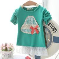 New Free Shipping Spring Children Cute Pattern Hoddies Long Sleeve Lace Sweatshirts Cute Coat Baby Girl Sweatshirts