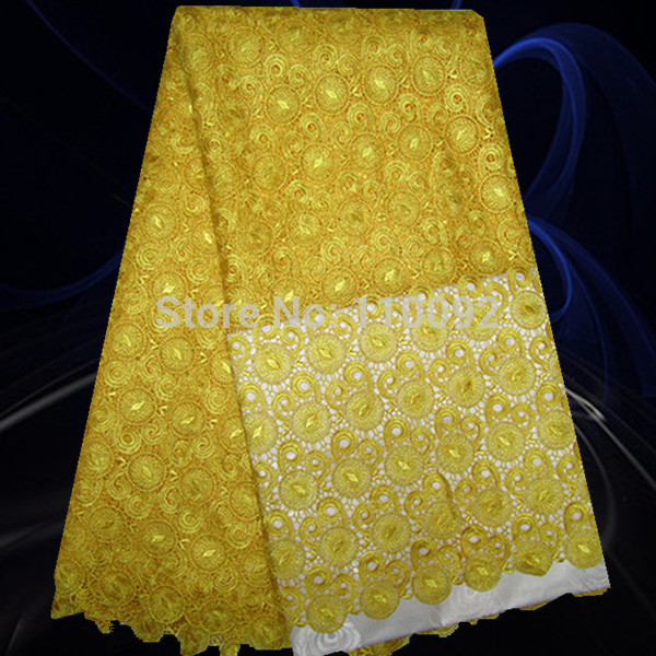 French cord lace fabric guipure lace fabric for wedding dress yellow