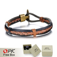 OPK Vintage Design Round Man Leather Bracelets Fashion Handmade Weaved Men Jewelry Anchor Design Buckle Accessories