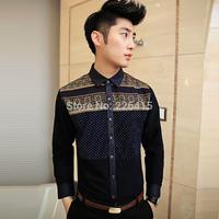 Top Quality Men's Polka Dot Long-sleeve Shirt Slim Fit Men Casual Shirt Floral Print Patchwork Mens Dress Shirts Size M-XXL