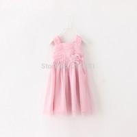 2015 Girls summer flower gauze tutu dress , baby girl dresses , 3-8 Years , 5pcs/lot   FJP36