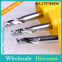 Imported Materials 10pc 3.175x8mm Metal Carbide Cutters, CNC Bits Aluminum Cutting, Metal Cutting Tool Bits for Aluminum, Zn, Cu
