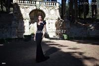 Tarik Ediz amazing design boat neck bow black sleeves prom dresses 2015 for winter dress RT-623
