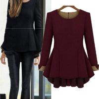 2014 Autumn Winter Women Fashion Blusas Long Sleeve Round Neck Loose Peplum Casual Blouse 3 Color Plus Size Hot Sale