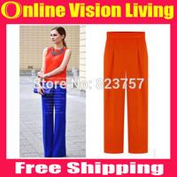 Plus Size  S M L XL Nobility New Hi-Q 2015 Fashion Wide Leg Pants High Waist Loose Pants Good Look Women Elastic Pants A0717