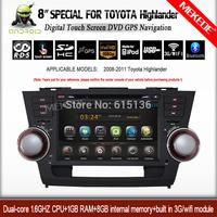 TOYOTA highlander 2008-2011 Car video radio player Andorid 4.2.2 system with DVD GPS navigation BT 1080p video wifi 3G  DVR