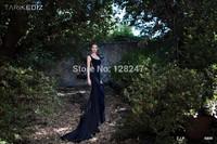 Tarik Ediz amazing design spandex deep blue embroidery back  trumpet prom dresses 2015 for winter dress RT-622