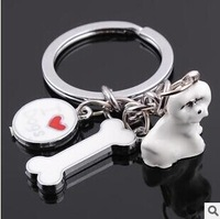 Free Shipping Creative Gifts Lovely Dogs Keychain Alloy Animal Pets Key Chain Ring Metal Key Rings Gift