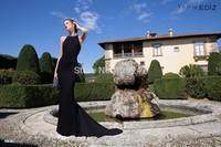 Tarik Ediz amazing design crystal beaded back black with train long fitted prom dresses 2015 for winter dress RT-624