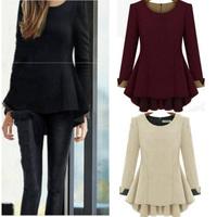 New Arrival 2014 Autumn Winter Women Fashion Blusas Long Sleeve Round Neck Loose Peplum Casual Blouse Plus Size L-4XL