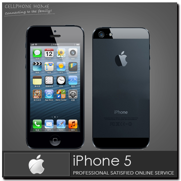 "Factory Unlocked Original Phone Apple iPhone 5 Smartphone Dual core 1.2Ghz WCDMA 4.0"" RAM-1G 8MP 16GB/32GB WIFI 3G Cell phones(China (Mainland))"