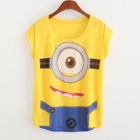 2015 New Fashion Women T Shirts Short Sleeve Print One-eye Minions T-Shirts Female Cartoon loose Tops Cross Tee Lady T-Shirts