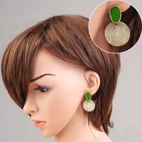 Elegant Annual Ring Pendant Earrings Green Studs Girl Eardrop Alloy V3NF