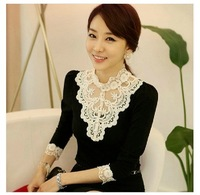 2014 new fashion women clothing plus size t shirt korean style sexy lace tops hot trendy clothes Long sleeve pearl M-XXXL Y03164