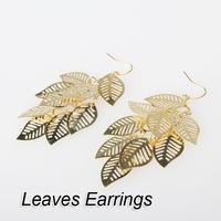 So Cute Bohemia Gold Hollow Leaves Long Fashion Dangle Earrings New V3NF