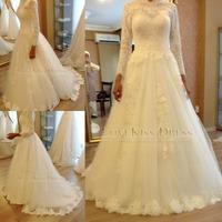 Vestidos De Novia 2015 High Neck Long Sleeve Lace Wedding Dress A Line Tulle Bridal Gown Vestido de Casamento