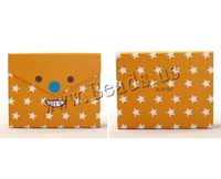 Free shipping!!!Cardboard gift box,Wholesale 2014 Jewelry, Rectangle, with star pattern, orange, 160x45x130mm, 10PCs/Lot