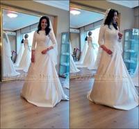Vestidos De Novia 2015 Scoop Neck Lace Long Sleeve Wedding Dress A Line Satin Bridal Gown 2015 Vestido de Casamento