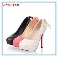 ENMAYER  Basic Round Toe platforms pumps 3 colors knot women pumps PU high thin heels shoes for ladies sexy date party pumps