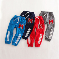 Retail 2015 New Spring Kids Cloth Boys And Girls Cotton Pants Harem Trousers Causal  Children Pants Letter M