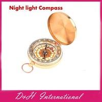 2014 New Aluminum Camping Night light  Mini Compass Hiking Navigation Classic Pocket Watch Style Compasses