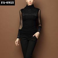 2015 New Women Tops Fashion Long Sleeve Turtleneck Beaded Lace Patchwork Blouse Casual Slim Shirt Women Free Shipping c1421