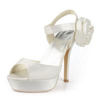 "Big Sale Free Shipping EP2063-PF White US6/EU37 Open Toe 5"" Heel Platform Satin Flower Buckle Bridal Sandals"