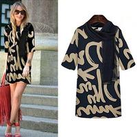 New Arrival Fashion New Spring Fall Half Sleeve Printed Dress Women Casual Dresses S M L XL XXL Mini Dress