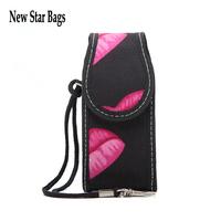 Promotions Brand makeup small bag Lanyard Lady put cosmetics bag Fashion lips nylon bag.S2E