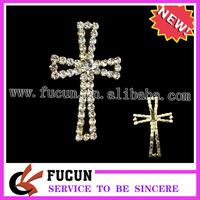 (100 pieces/lot) Attractive unusual diamante cross buckles sliders crystal clear gold plated Free Shipping