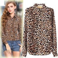 Sale European Style 2015 Autumn Women Long Sleeve Print Chiffon Blouse Vintage Blouses Plus Size Leopard Dot Shirts Tops Blusa