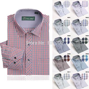 Высокое качество мужская классический клетчатую рубашку с длинным рукавом платье ...