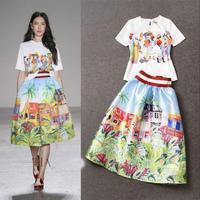 2015 conjunto cropped e saia spring summer digital printing cartoon skirt suit 2 piece set women skirt set casual dress