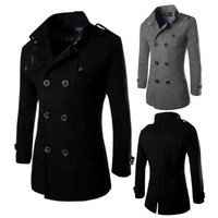 New 2014 Winter Mens British Stylish Woolen Double Breasted Long Jacket Casual Coats Black Gray Plus Size XL-3XL High Quality