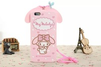 3D Cartoon Lovely Cute Pink Melody Rabbit Lanyard Soft Silicone Skin Back Cases For Apple iPhone 4 4S 4G Covers Drop Shipping