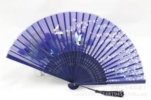 Japan Silk Dance Fan Hand Fan bamboo folding Fan butterfly #5(China (Mainland))