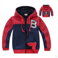 Free shipping 1 piece spring and autumn 2015 boy spiderman cartoon embroidery stitching coral fleece thickening fleece
