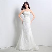 2015 New Europe Fashion Wedding Dress Bride Sexy Sequins Lace Romantic  Wedding Dress Slim Fit Train Wedding Dresses Hot sale