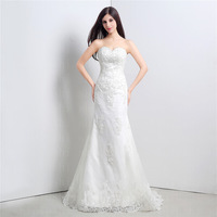 2015 New Europe Fashion Wedding Dress Bride Sexy Sequins Lace Romantic  Wedding Dress Slim Fit Train Wedding Dresses Hot sale