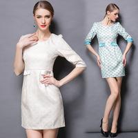 M-3XL Brand 2015 Spring Autumn Runway Jacquard Dress Women Half Sleeve Plus size XXXL Slim Fan Print Ladies Work Office Dresses