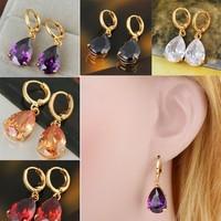 Fashion Wonderful Bling White Sapphire 18k Gold Filled Dangle Earring Free Shipping