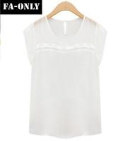 New European Style Blouse Summer Women Tops Plus Size Loose O-Neck Women Chiffon Shirt Free Shipping c4008