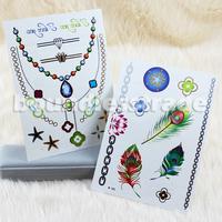 2015NEW 2x OPHIR Flash Tattoo Sticker Jewelry Necklace Bracelet Temporary Gold Golden Tattoos Set _MT029+MT030