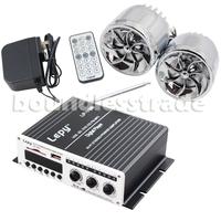 OPHIR Lepai LP-V9 2x25W Hi-Fi Stereo Amplifier USB SD/MMC Card Player AMP & 2x Speakers for Car Boat Motor Amplifier_AR032+AR023