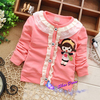 2015 Spring and Autumn  Child Girls Lace girl pattern fashion cardigan coat,Children cardigan outwear,4pcs/lot, V1547