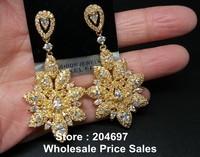 Luxury Yellow Gold Plated Swiss Cubic Zirconia CZ Diamond Flower Shape Elegant Dangle Earrings For Women