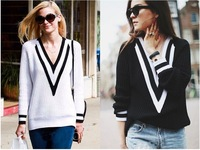 2015 High Street Women Girl Sweater Women White School Style V Neck Pullover Knit Sweater LC27576