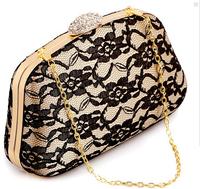Punk Monocoque Black Lace Diamond Clutch Evening Bag Retro Chain Bag Ladies Flower Party Clutch Purse 3056